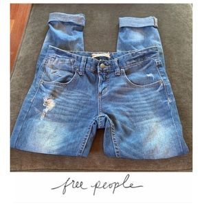 Free People Distressed Cuffed Skinny Jeans